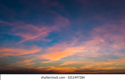 twilight colorful sky and cloud with sunlight shine behind background