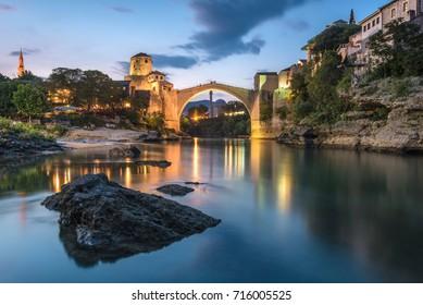 Twilight colors at Stari Most bridge, Mostar