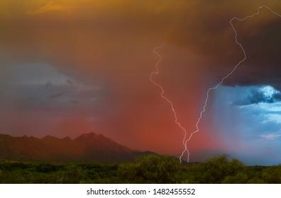 Twilight Double Lightning Strike In Arizona