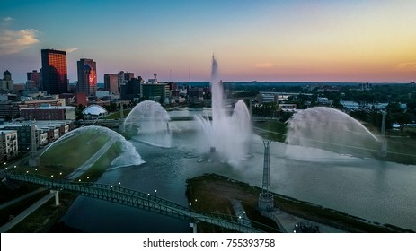 Twilight at the Fountains - a look at the river fountains in Dayton, OH at sunset