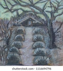 twilight in garden, pastel illustration