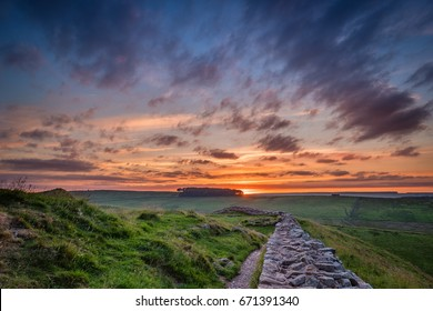 Twilight at Hadrian's Wall / Hadrian's Wall is a World Heritage Site in the beautiful Northumberland National Park. Popular with walkers along the Hadrian's Wall Path and Pennine Way