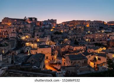 Twilight at heart of sassi di matera