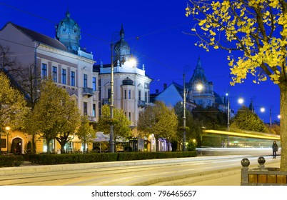 Twilight image with Debrecen streets with impressive architecture, Hungary