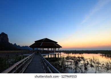 Twilight at lake in Sam Roi Yod National Park, Prachuap Khiri Khan, Thailand