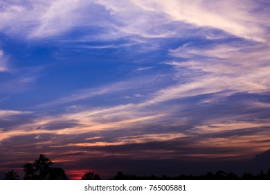 twilight landscape blue sky and clounds background wallpaper blur colorfull