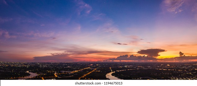 twilight landscape pandora lighting city river and blue sky in Thailand from drome camera