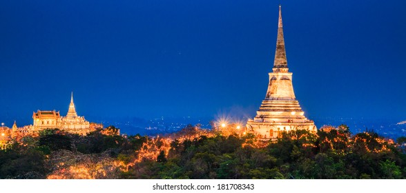 Twilight light Evening light Phra Nakhon Khiri  Phetchaburi province, Asia Thailand