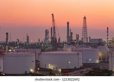 Twilight light oil refinery.