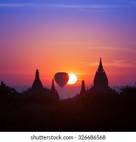 Twilight magical sunset in Bagan Myanmar (Burma). Beautiful photography of famous travel destination