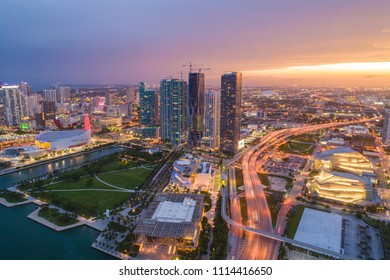 Twilight Miami aerial drone photo