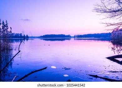 The twilight moment in Tegel lake Berlin Germany