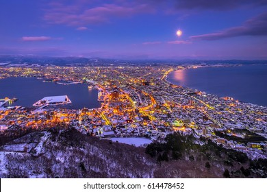Twilight night view of Hakodate from Mount Hakodate, winter season, Hokkaido, Japan