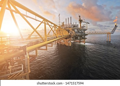 twilight of an offshore oil rig