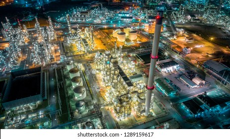 Twilight of oil refinery ,Oil refinery and Petrochemical plant at dusk