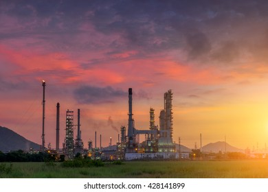 Twilight of oil refinery plant with sunshine, Morning scene.