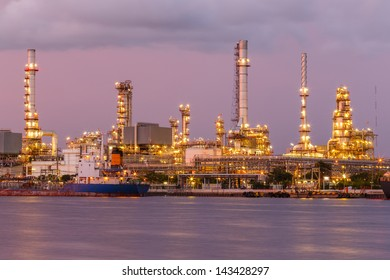 twilight oil refinery and port big boat transport