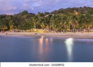 Twilight on beautiful tropical Crash Boat Beach in Aguadilla, Puerto Rico