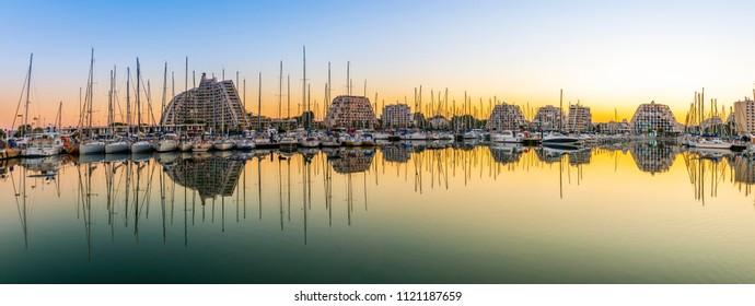 Twilight on the Marina of La Grande-Motte in the Hérault in Occitania, France