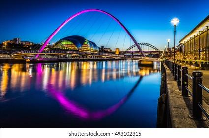 Twilight on Newcastle Quayside, England