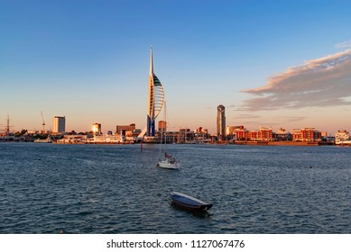 Twilight on a sunny evening at the South Coast City of Portsmouth
