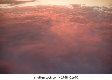 Twilight Orange Cloudscape Viewed From A High Angle