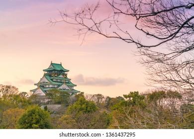 Twilight at Osaka castle (Osaka-jo) with dried tree as foreground in Osaka, Japan.