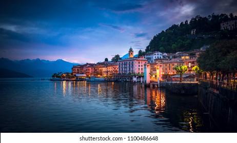 Twilight over Bellagio, Lake Como,  Lombardy, Italy