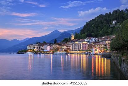 Twilight over Bellagio, Lake Como, Lombardy, Italy.