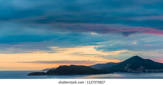 Twilight over Budva City