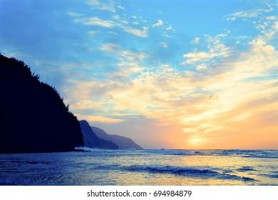 Twilight over Coast Kauai