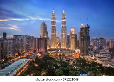 Twilight over Kuala Lumpur skyline