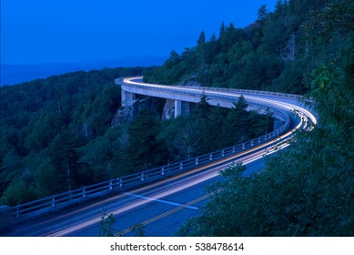 Twilight over the Lynn Cove Viaduct along the Blue Ridge Parkway in North Carolina