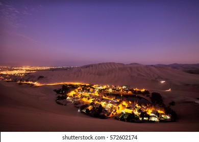 Twilight over the oasis of Huacachina