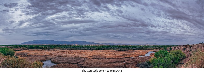 Twilight Panorama of Albuquerque Skyline and Sandia Mountains - New Mexico Land of Enchantment