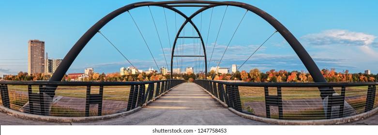 Twilight Panorama of Bill Coats Bridge Over Brays Bayou - City of Houston Texas Medical Center