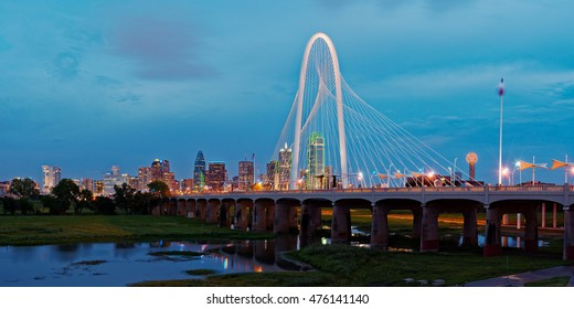 Twilight Panorama of Downtown Dallas Skyline from Trinity River Overlook - Dallas Texas