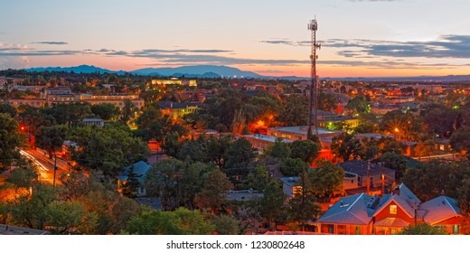 Twilight Panorama Of Downtown Santa Fe From Cross Of The Martyrs - New Mexico