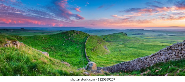 Twilight Panorama at Hadrian's Wall, a World Heritage Site in the beautiful Northumberland National Park. Popular with walkers along the Hadrian's Wall Path and Pennine Way