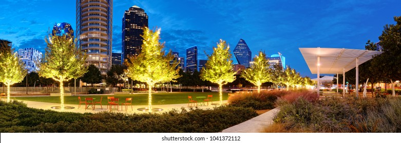 Twilight Panorama Of Klyde Warren Park And Downtown Dallas Skyline - North Texas