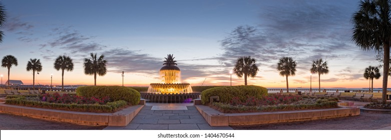 Twilight Panorama of Pineapple Fountain and Palmettos at Waterfront Park - Charleston South Carolina