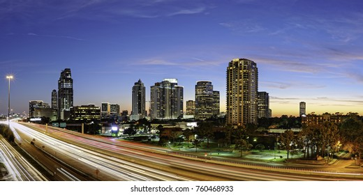 Twilight Panorama of Uptown Houston and I-610  Harris County Texas