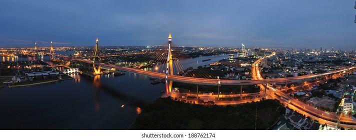 Twilight Panoramic view of Bhumibol Bridge, Bangkok, Thailand