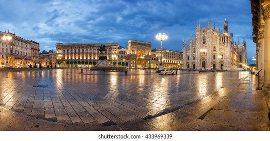 Twilight panoramic view of Cathedral, Vittorio Emanuele II Gallery and piazza del Duomo in Milan, Lombardia region, Italy.
