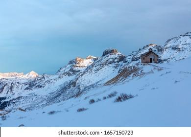 Twilight in Passo Pordoi near Canazei, Dolomites, Italy