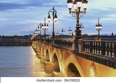 Twilight at Pont de Pierre bridge in Bordeaux, France