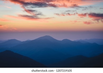 Twilight in the Pyrenees Mountains (Coll d'Ares, France)