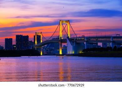 Twilight in Rainbow bridge  , Odaiba Tokyo Japan