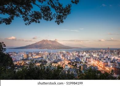 Twilight Sakurajima Volcano and Kagoshima City View from Shiroyama Viewpoint, Yakushima Island, Kyushu, Japan