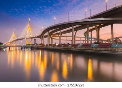Twilight Scene Bhumibol Bridge, Bangkok, Thailand